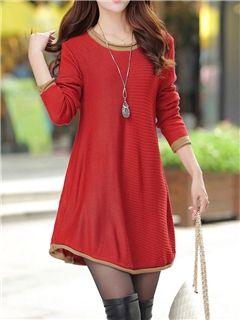 llanura ericdress vestido de suéter de una línea