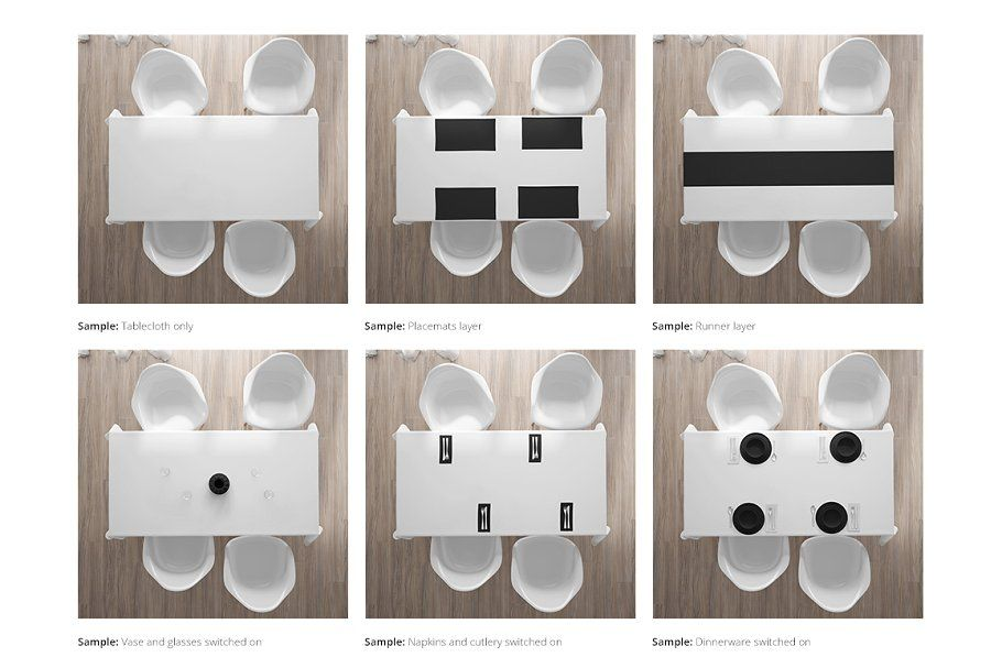 Table Textiles Mockup Set Table Cloth Placemats Graphic Design Layouts