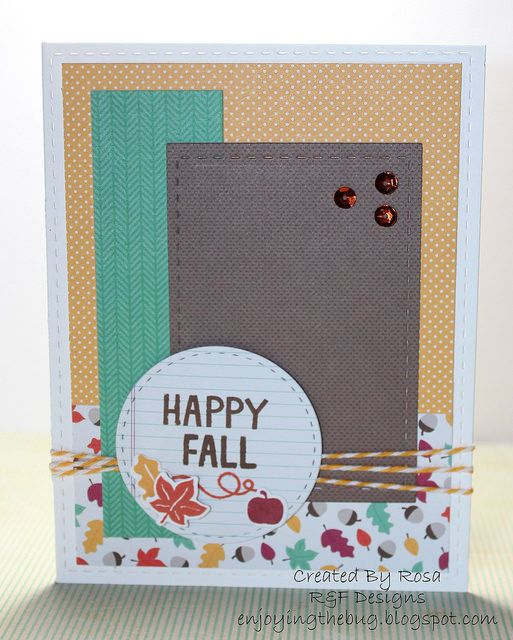 Lawn Fawn - Sweater Weather stamps + coordinating dies, Sweater Weather 6x6 paper, Stitched Party Banners, Stitched Rectangles, pretty Happy Fall card by Rosa via Flickr - Photo Sharing!