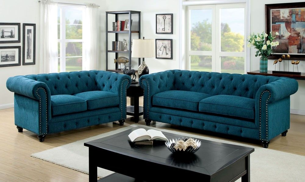 Best Bernadette Blue Fabric Tufted Sofa Sofa Set Cheap 400 x 300