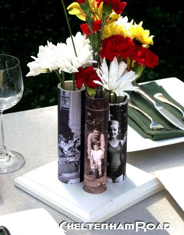 Vase mit PVC-Rohren...(mod podge project)  Schöne Idee zum Muttertag...