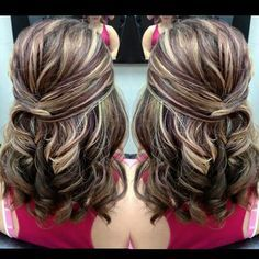 Baby Shower Hairstyle Half Up On Medium Hair With Gorgeous Blonde And  Violet (purple)