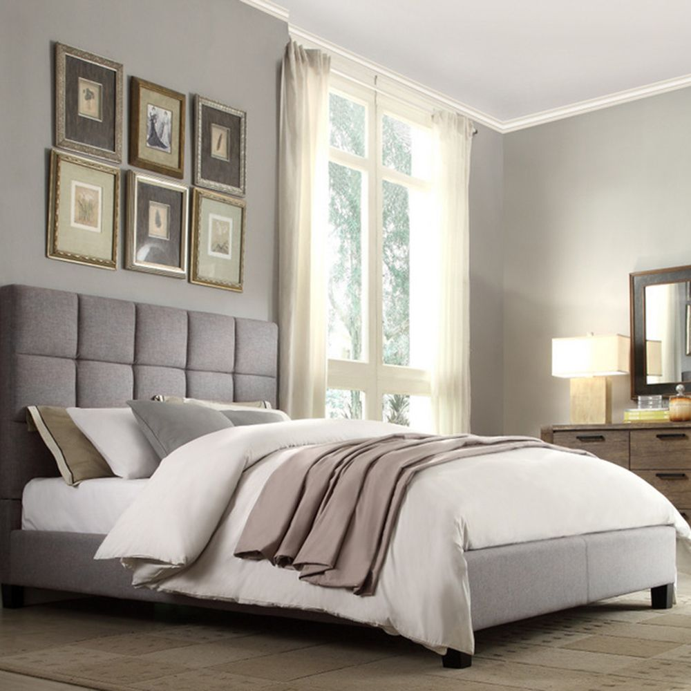INSPIRE Q Fenton Grey Linen Panel Upholstered Bed | Overstock ...