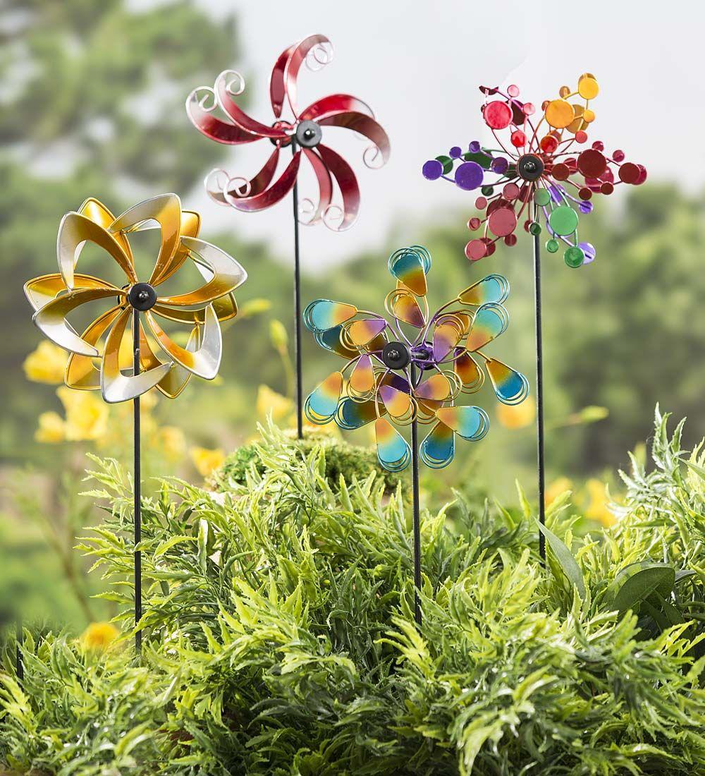 Mini Metal Wind Spinners, Set Of 2   Garden Spinner, Wind Spinner, Small