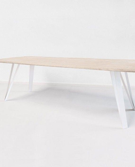 Étonnant pieds de table en metal blanc avec plateau bois massif chêne DG-51