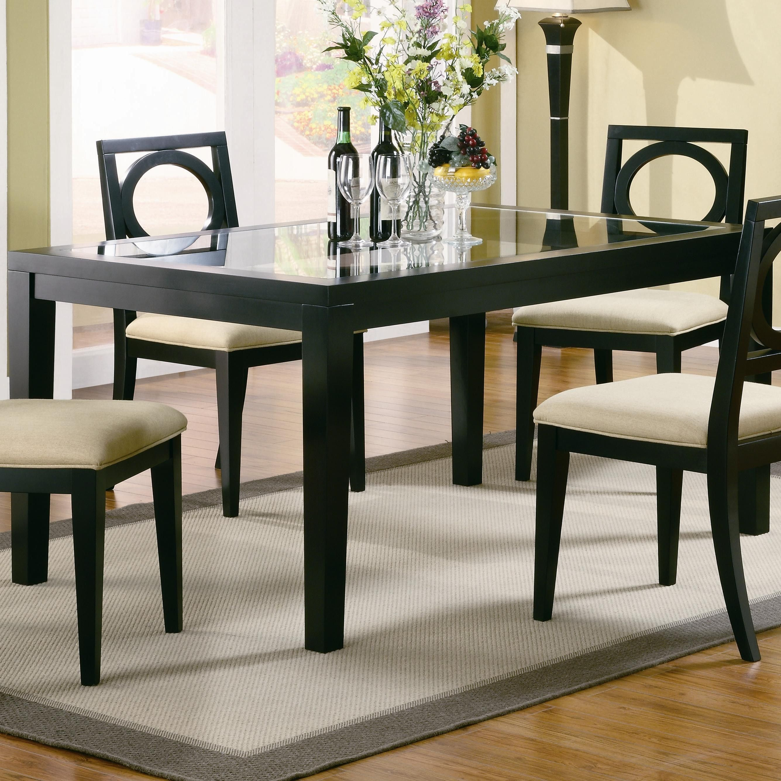 Furnitures Fashion Small Dining Room Furniture Design: Lukas Rectangle Dining Leg Table With Inset Glass Top U
