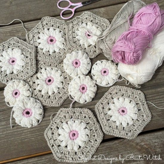 Crochet Daisy Granny Square Pattern Youtube Video | Mantas de bebé ...