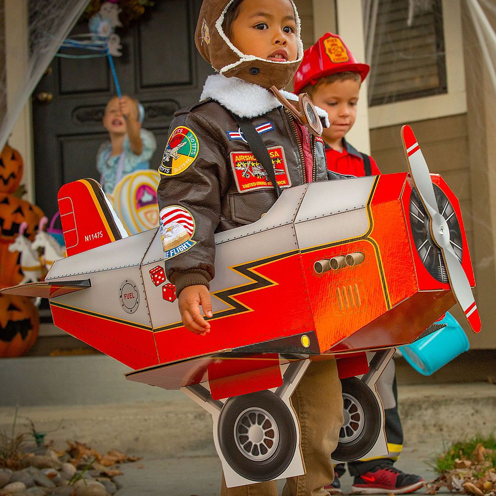Airplane Halloween Decorations 2020 Child Airplane Ride On Costume with Sound Effect 27 1/2in x 30in