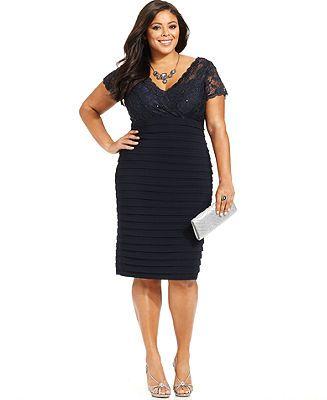 Betsy & Adam Plus Size Illusion Lace Shutter-Pleat Dress - Plus Size ...