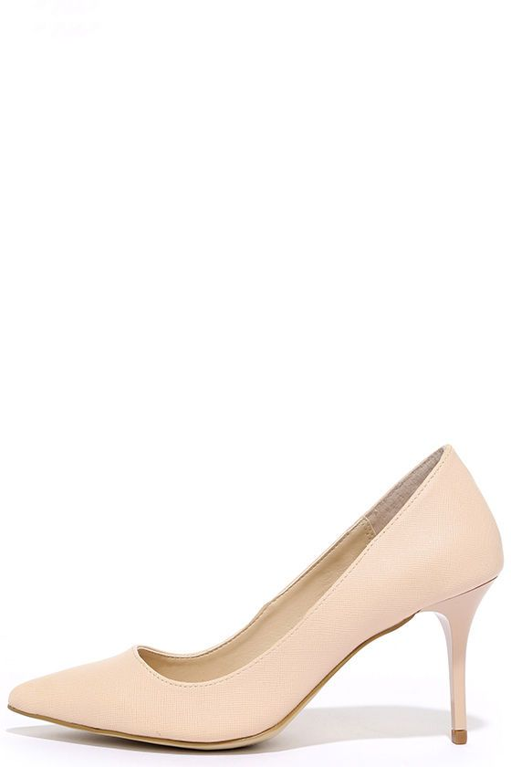 cc1177bb3257 Your time to shine is now with the Madden Girl Baebae Nude Pumps!  Crosshatched vegan leather pumps have a pointed toe and single sole