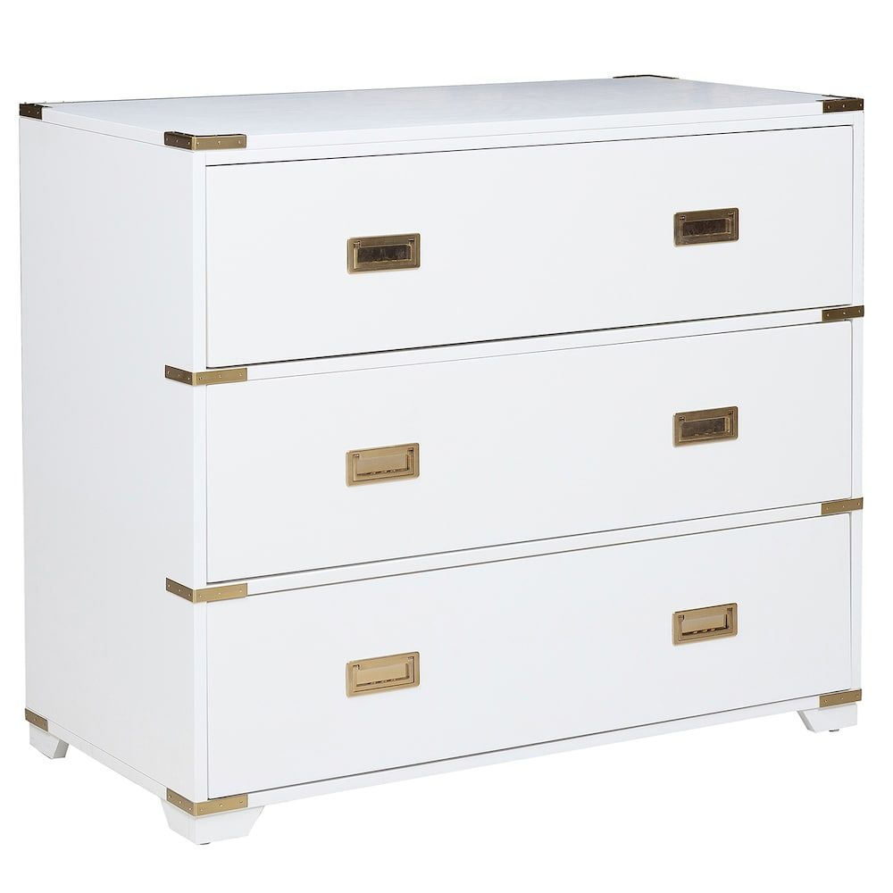Pulaski Campaign 3 Drawer Dresser White Chests 3 Drawer Dresser Dresser Drawers