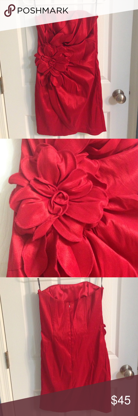 Jessica mcclintock red rose dress gently worn great condition rn