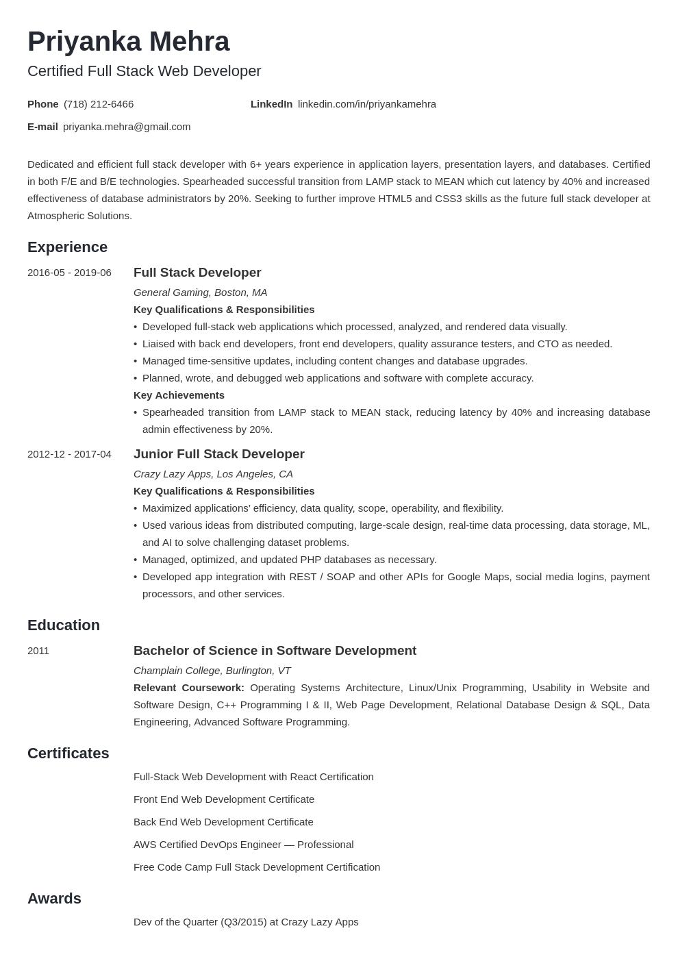 Full Stack Developer Resume Example Template Initials Resume Examples Full Stack Developer Job Resume Examples