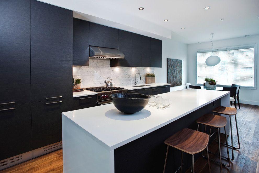 Splashy Pental Quartz Technique Vancouver Contemporary Kitchen Decorators With Black Cabi Kitchen Renovation Contemporary Kitchen Design Kitchen Cabinets Decor