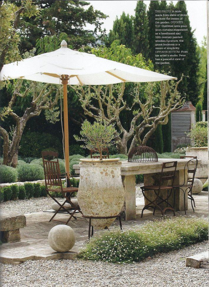 Concrete Table Grassy Flowers Pebbles Stone Backyard Large Pot