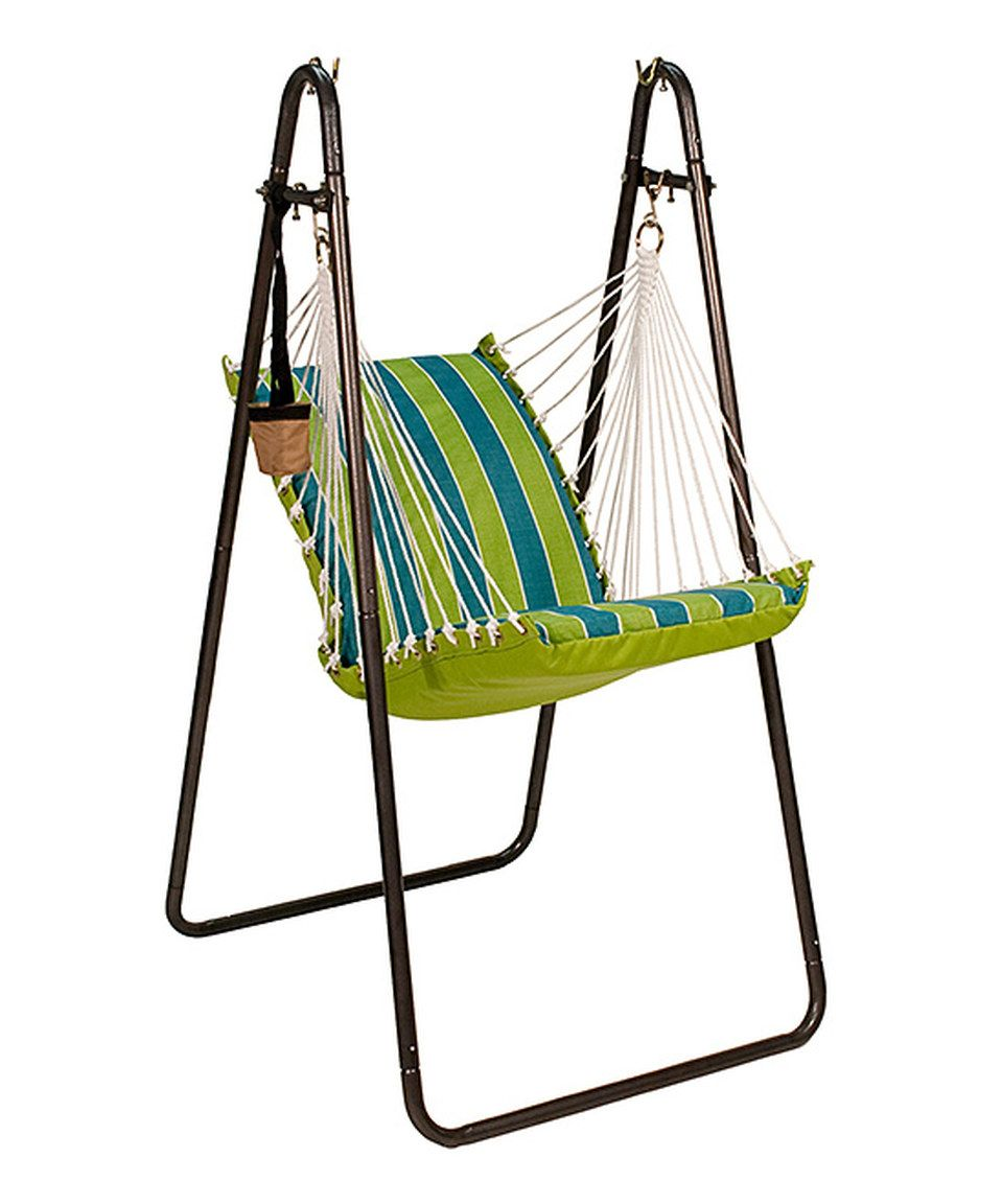 Love this teal u green stripe sunbrella hanging chair by algoma net