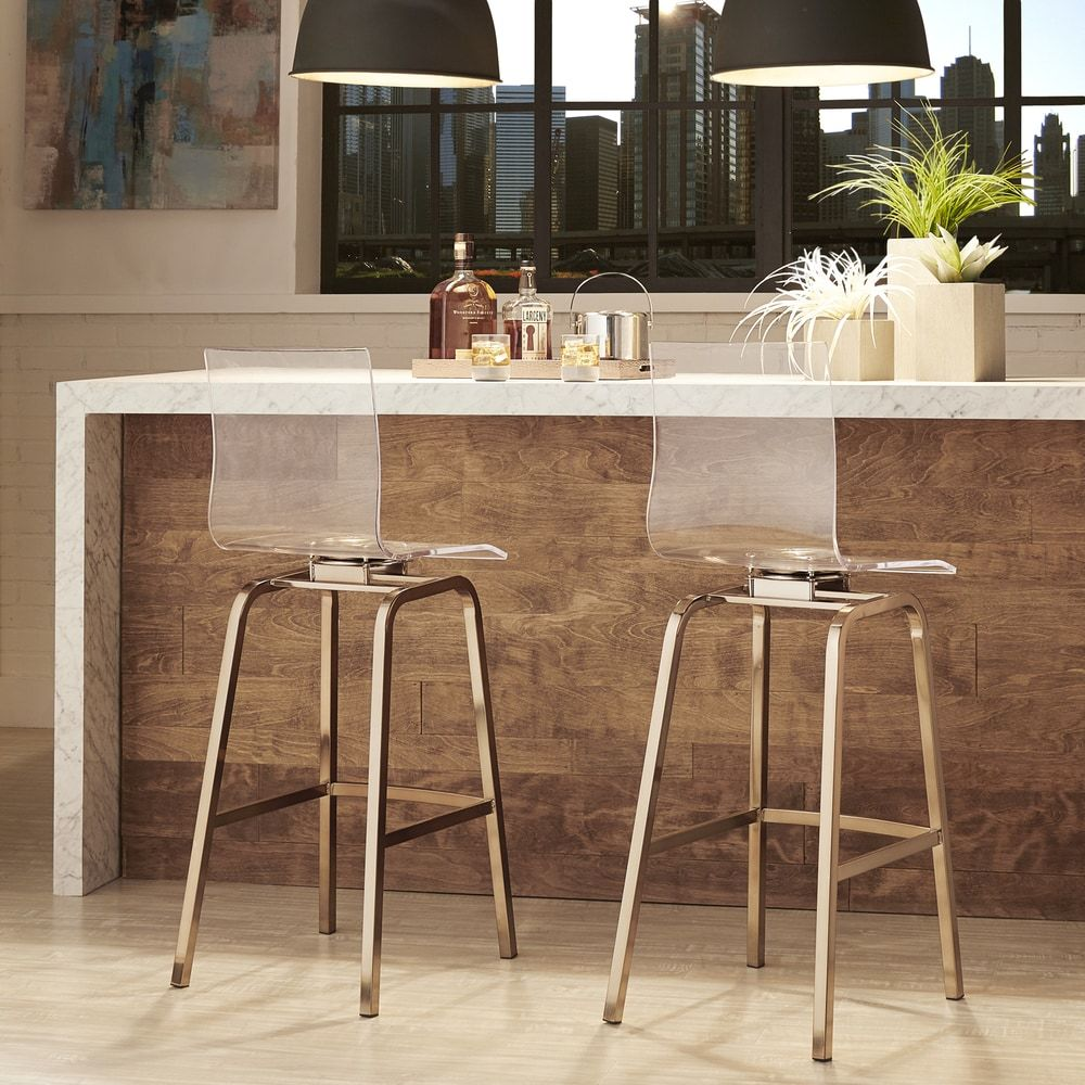 Unique Style Acrylic Bar Stools: Clear Acrylic Bar Stools With Back Also  Brass Leg And Wooden Kitchen Island For Kitchen Design Ideas