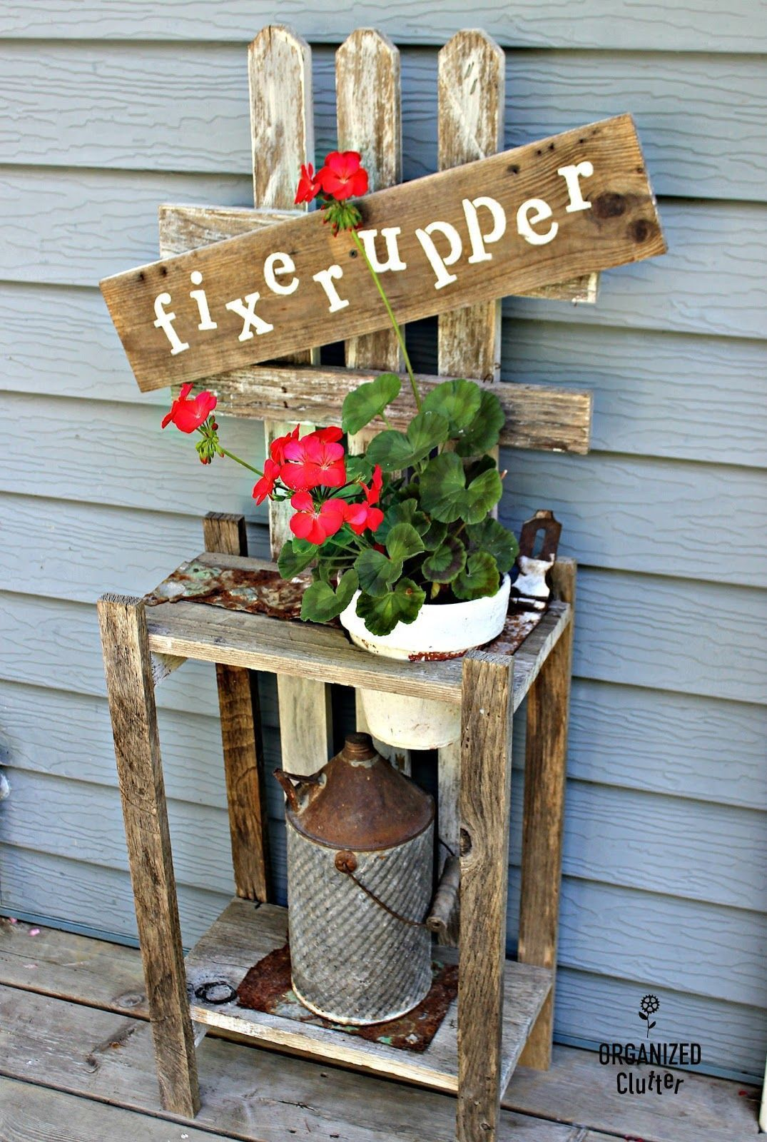 Garden decor out of junk  Click on links Junk Garden Rummage Sale Fixer Upper Garage Sale