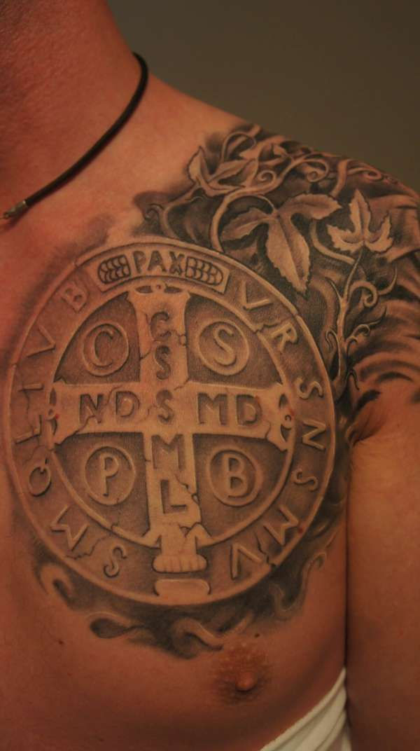 51d5e7b6a Seriously love this piece! St. Benedict medal tattoo. #Catholic ...