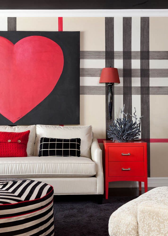 Cream Sofa Interior Exterior Striped Painted Walls Painting Stripes On Wall