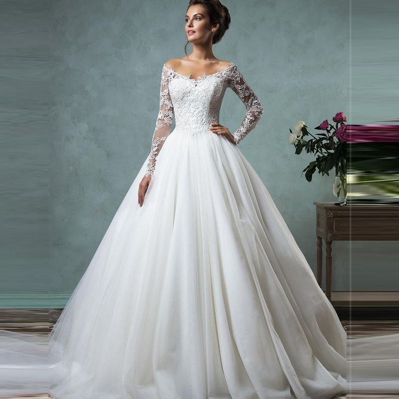 High Quality Modern Bride Gowns Lace Long Sleeves Off The Shoulder