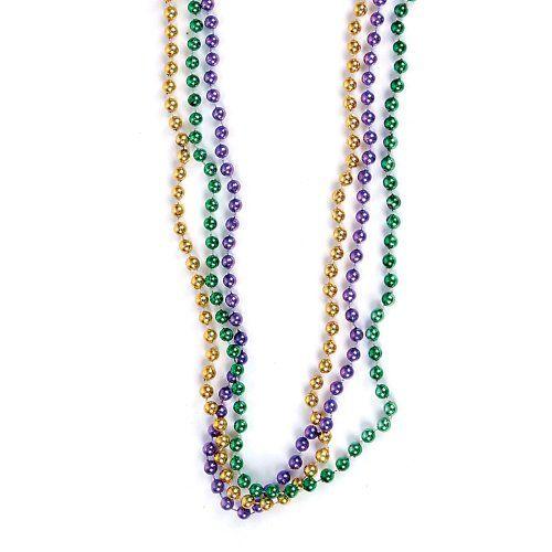 33 inch 07mm Round Metallic Purple Gold and Green Mardi Gras Beads - 6 Dozen (72 necklaces) Mardi Gras Spot http://www.amazon.com/dp/B003YKAZYO/ref=cm_sw_r_pi_dp_YsR0tb1PTK2XBF30
