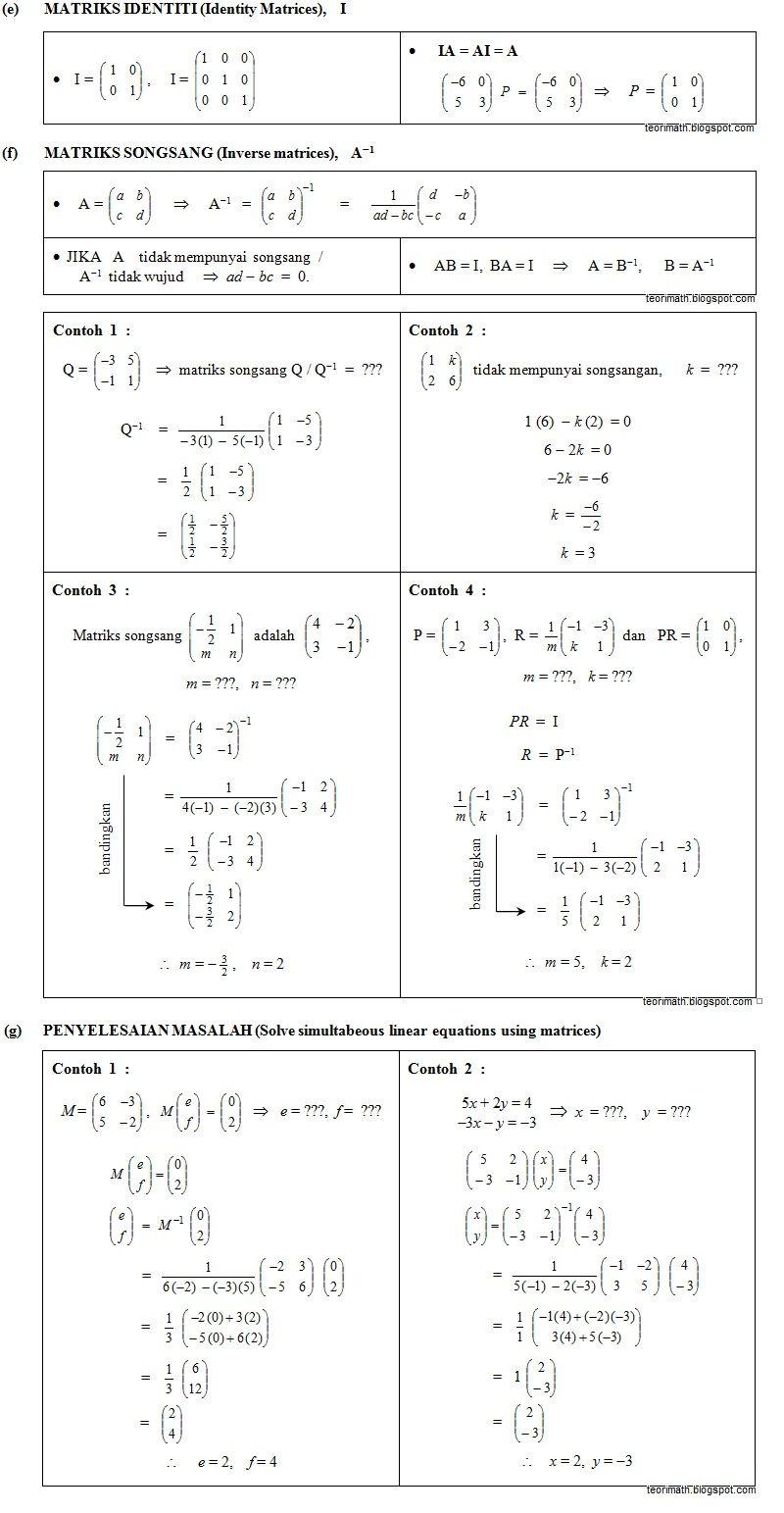 26 Matriks Matrices Matematika Kelas 5 Buku Catatan Matematika Kalkulus