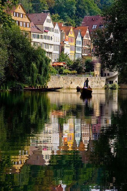 Tübingen by boat | Suzanne's 1991 European Travels ...