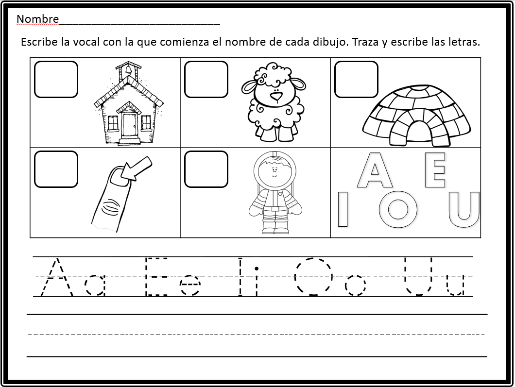 Las cinco vocales. Hojas de practica. Spanish vowels worksheets for ...