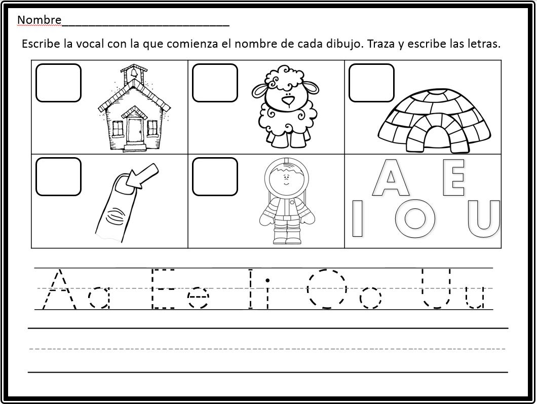 Las Cinco Vocales Hojas De Practica Spanish Vowels Worksheets For The Dual Language Or