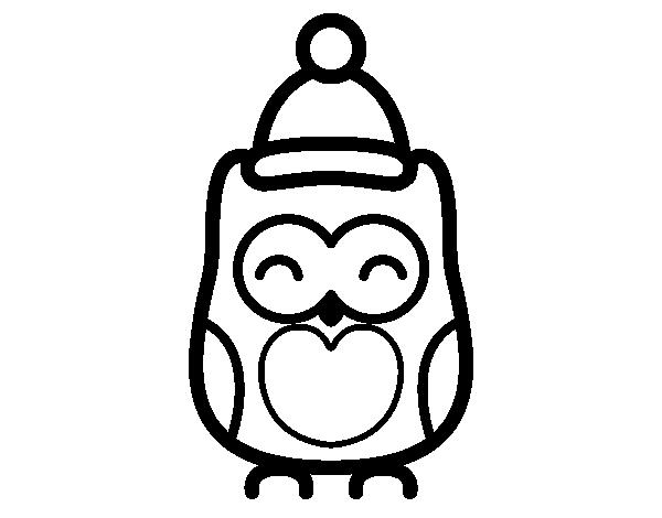 Dibujo de Búho navideño para colorear