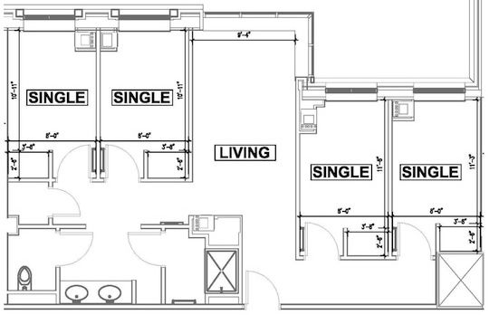 Dorm suite dorms apartments pinterest dorm and for Ada compliant hallway