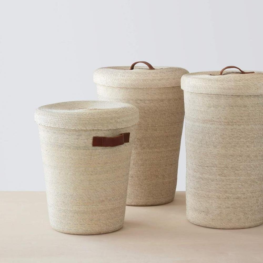 Woven Palm Laundry Basket Set Modern Laundry Set Hamper Large