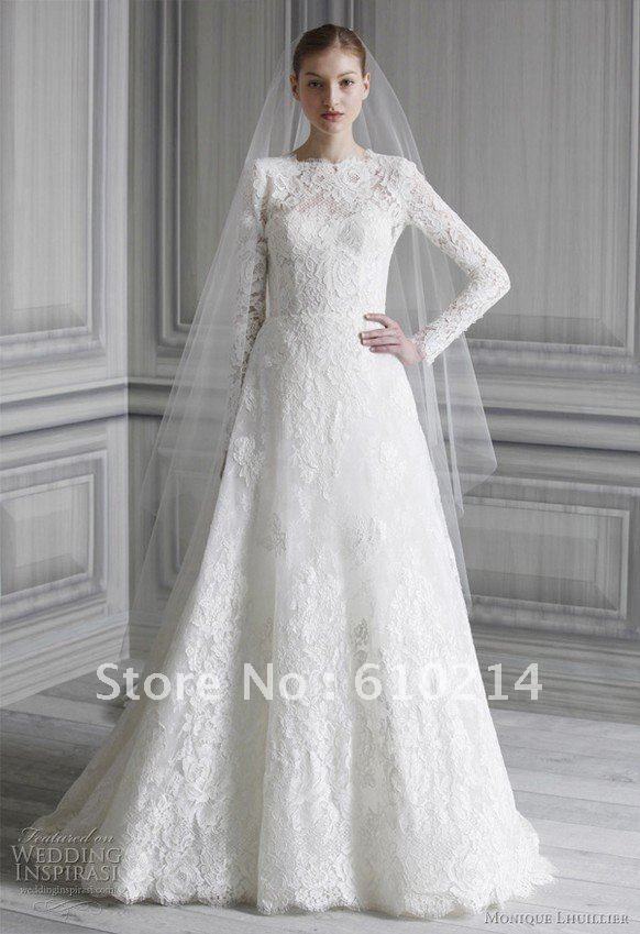 2013 Muslim A-line Wedding Dresses Lace Full Long Sleeves Cathedral ...