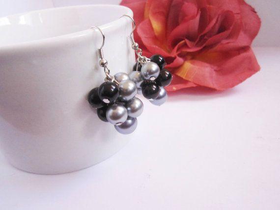 Black and Grey Cluster Pearl Earrings Bridesmaid by SLDesignsHBJ