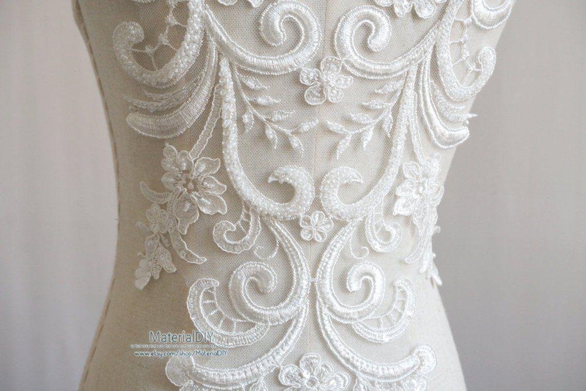 Exquise Off White Lace Applique Beaded Sequin Applique Grande Etsy Ball Gowns Wedding Lace Applique White Lace