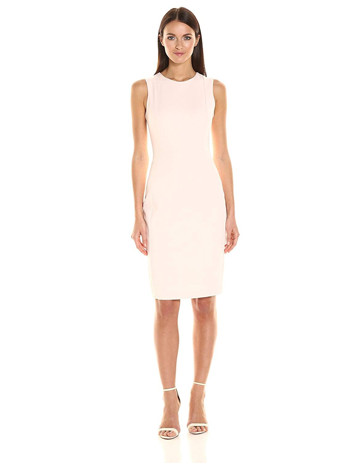 4ad3e6ea Calvin Klein Women's Scuba Crepe Sleeveless Princess Seam Sheath Dress at  Amazon Women's Clothing store: