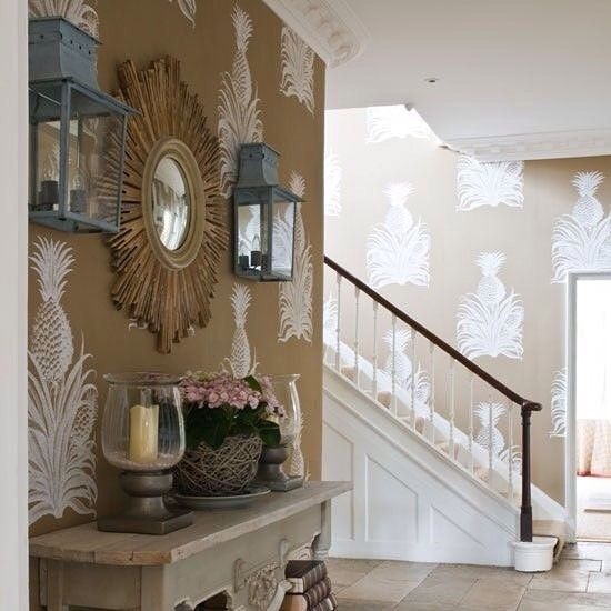 Large Pineapples Adorn The Walls In This Striking Hallway Wallpaper By Studio Printworks Available