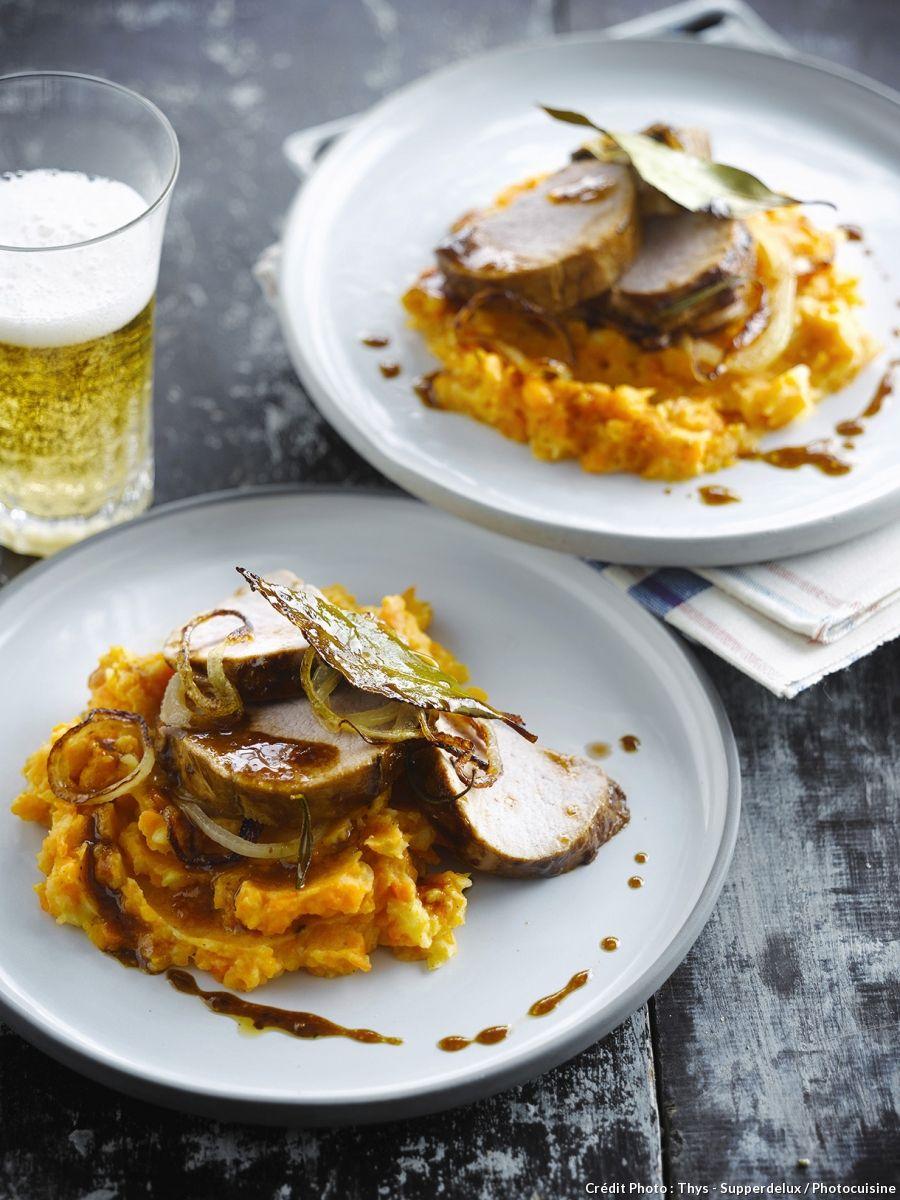 R ti de porc la bi re pur e de carottes recette cahier de recettes pork french toast - Cuisiner un roti de veau ...