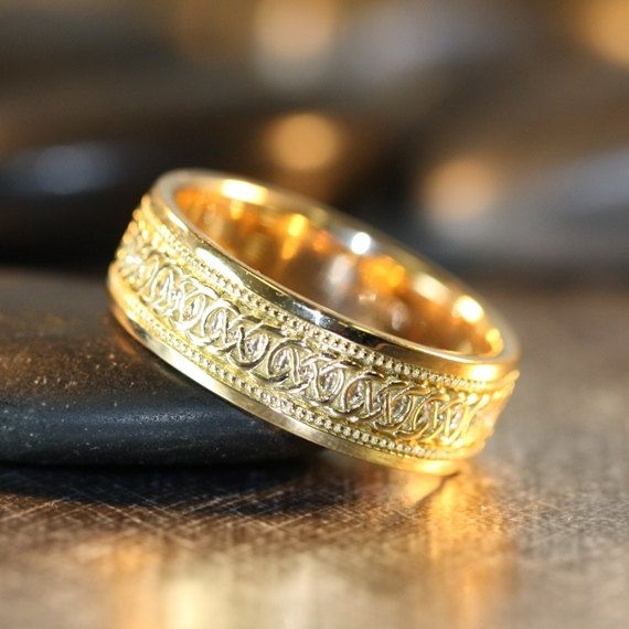 Infinity Celtic Knot Wedding Band Yellow Gold Unique Mens Ring Eternity Solid Wide Other Metals Available