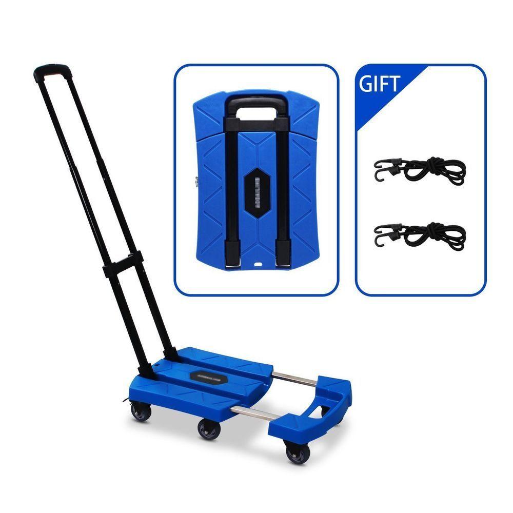Portable Folding Luggage Cart With 6 Wheels And 2 Free Rope Upgrade Large Wheels Aodailihb Folding Cart Luggage Stair Climbing