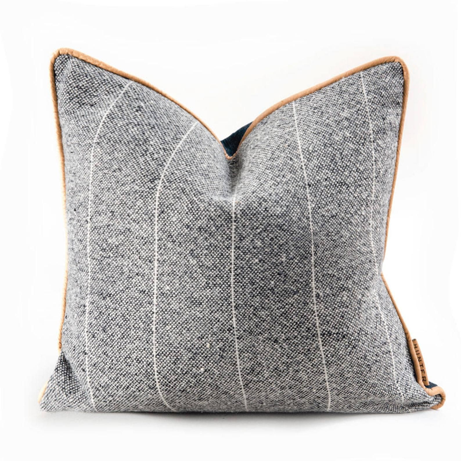 Sandy Lyle Grey Wool And Japanese Denim Leather Piping Accent Etsy Leather Pillow Pillows Japanese Denim