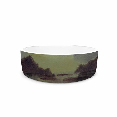 "Cyndi Steen ""Crashing Waves"" Purple Yellow Pet Bowl - KESS InHouse"