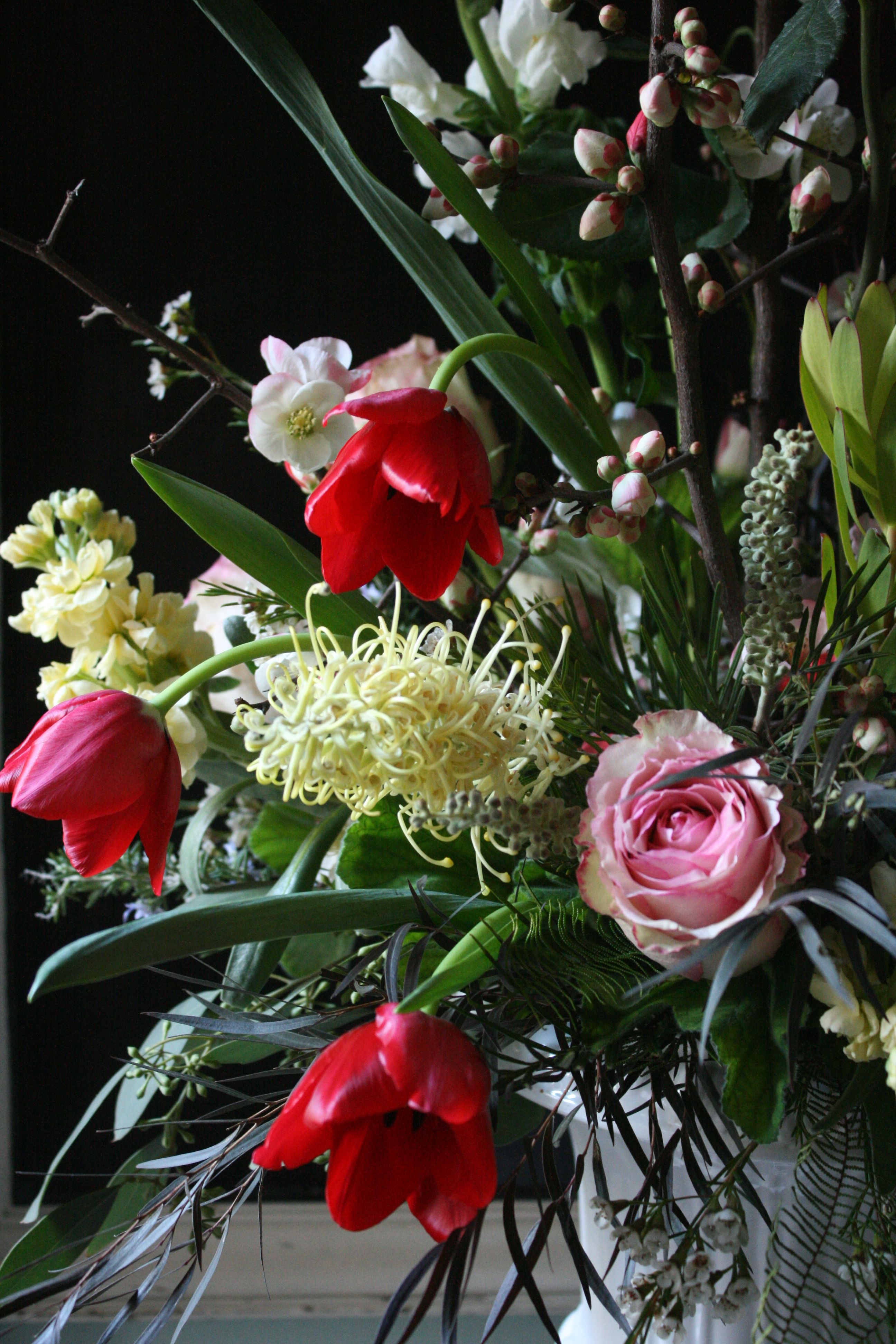 Detail of bouquet by Fleurie, February seasonal blooms
