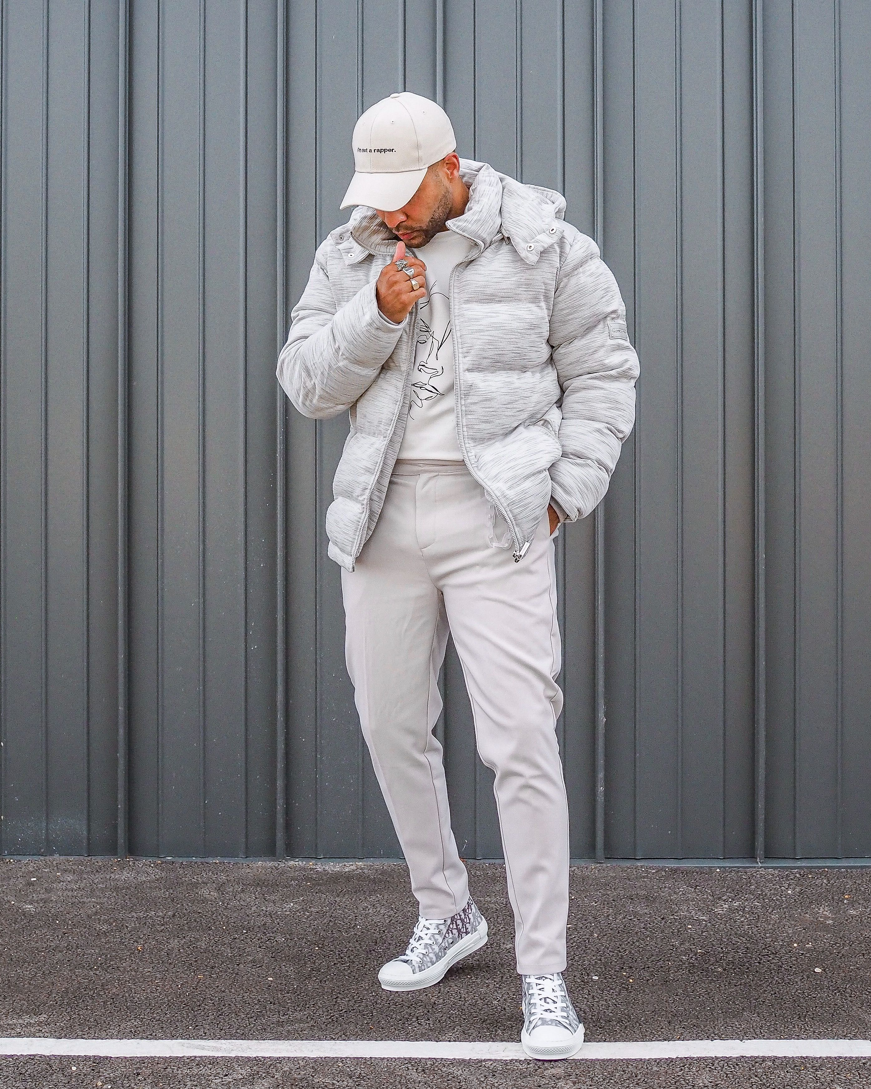 Textured Puffer Jacket Streetwear Men Outfits Winter Outfits Men Men Fashion Casual Outfits [ 3491 x 2791 Pixel ]