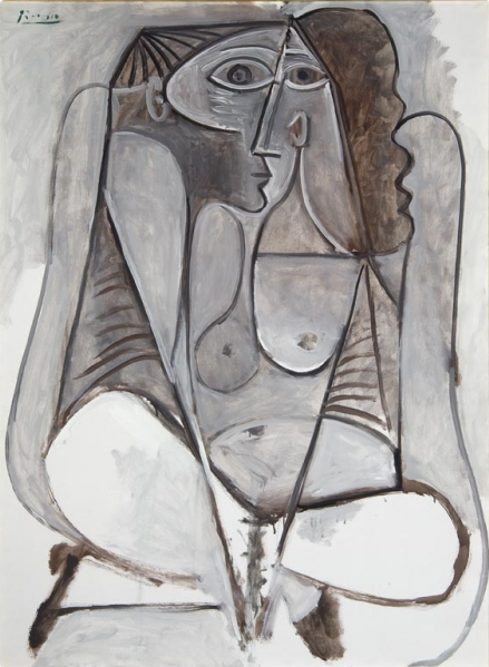 Pablo Picasso, 1958, Crouching Woman, oil on canvas, McNay Art Museum.