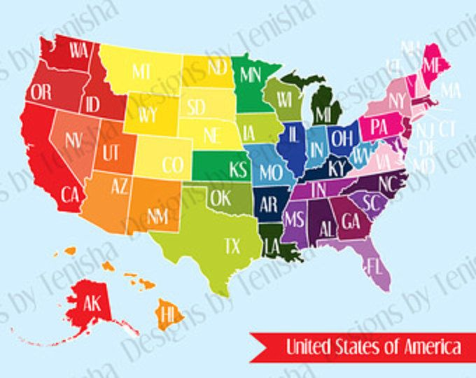 United States Map, USA, US, America, Art Print, Colors ...
