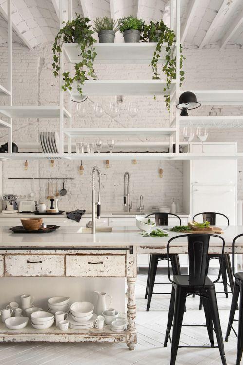 "dustjacketattic:  "" white industrial kitchen   by marta castellano  """
