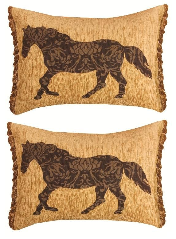 horse Couch Pillows | Fringed Chenille Horse Throw Pillows Set of 2