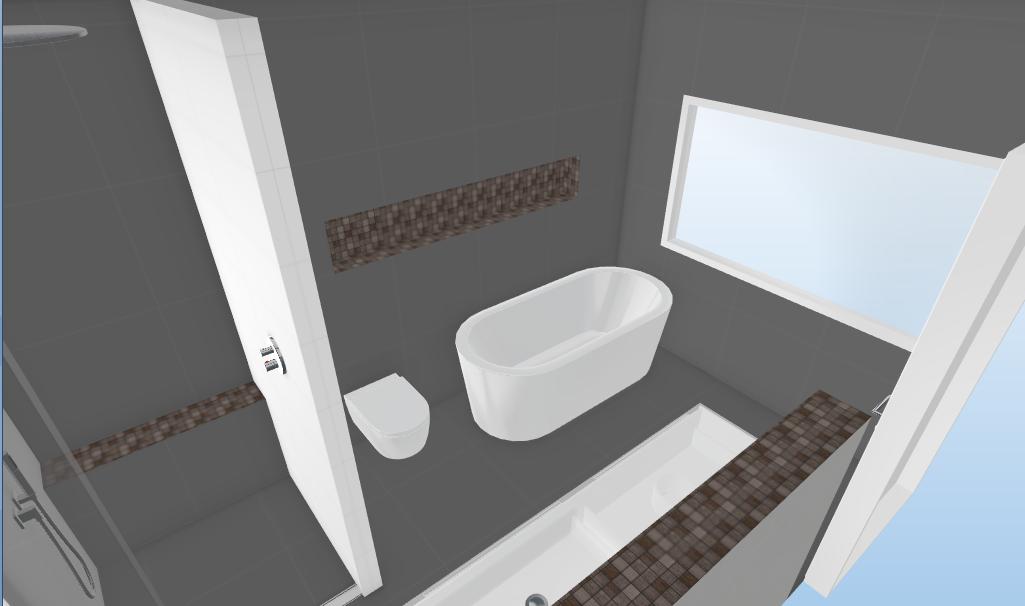 3d badkamer met verlichte nis en zithoek in de douche